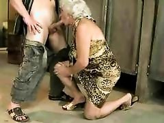 Granny enjoys nasty sex in public toilet