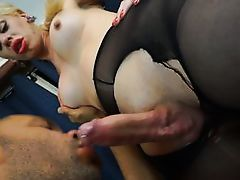 her pantyhose gets ripped open for a blowjob