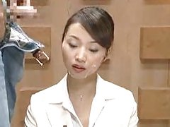 Asian newsreader bukkake 1