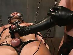 gagged guy endures bdsm teasing and torture