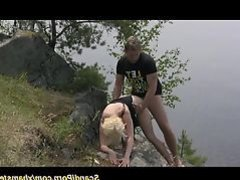 scandi teen couple fucks in nature