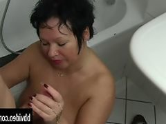 Fat german milf gets nailed in bathroom