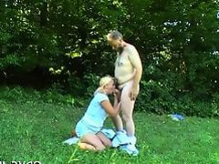Cute teen gives old dude oral and takes it up the booty