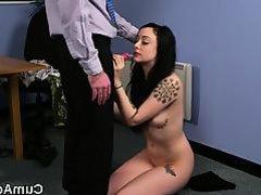 Kinky stunner gets cum shot on her face gulping all the jizm