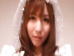 Sexy Japanese cosplay bride showing her part1