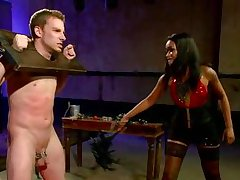 ebony goddess whips slave boy's dork