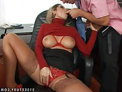 Charming experienced golden-haired secretary Daria Glower with big hooters and