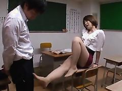japanese mentor rubs her feet on her student's cock