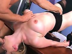 Naughty blonde schoolgirl Danielle Delaunay with whorish nails and big natural tits in stockings and